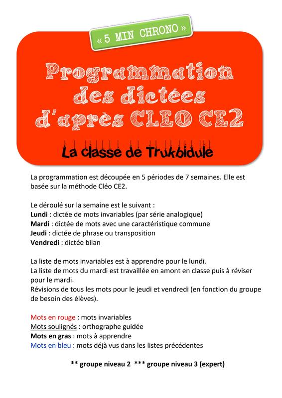 Dictees Ce2 D Apres Cleo La Classe De Trukbidule Ce2 Dictee Ce2 Dictee