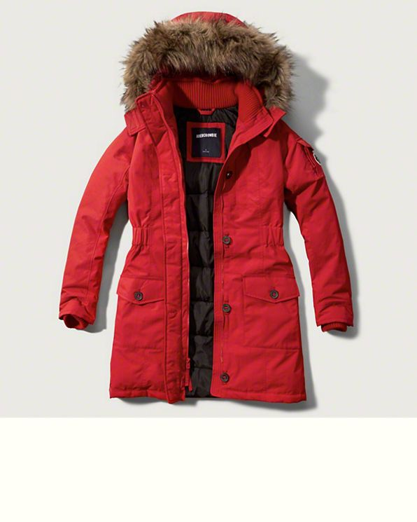 f40719bce Abercrombie   Fitch winter warrior fur hood jacket - red