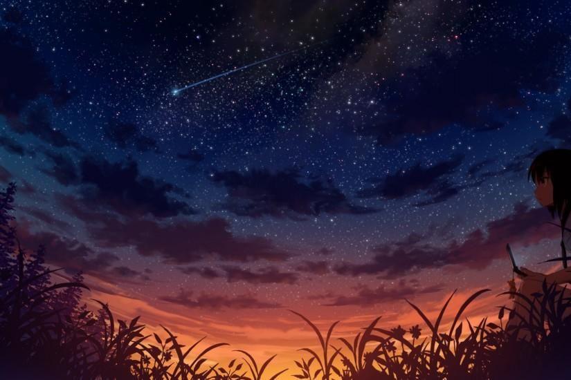 Anime Scenery Wallpaper 1920x1080 For Xiaomi Pemandangan Anime Fotografi Alam Langit Malam
