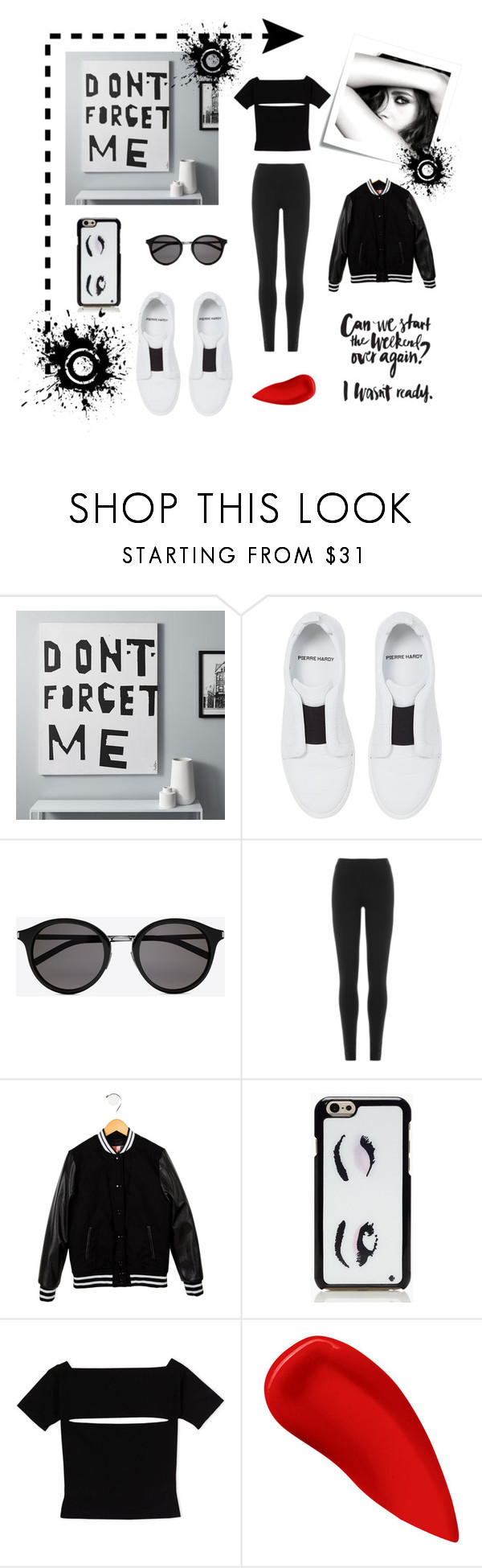 """""""Untitled #11"""" by faigylefkowitz ❤ liked on Polyvore featuring CB2, Pierre Hardy, Yves Saint Laurent, DKNY, MSGM, Kate Spade, Post-It, T By Alexander Wang, Lipstick Queen and Chanel"""