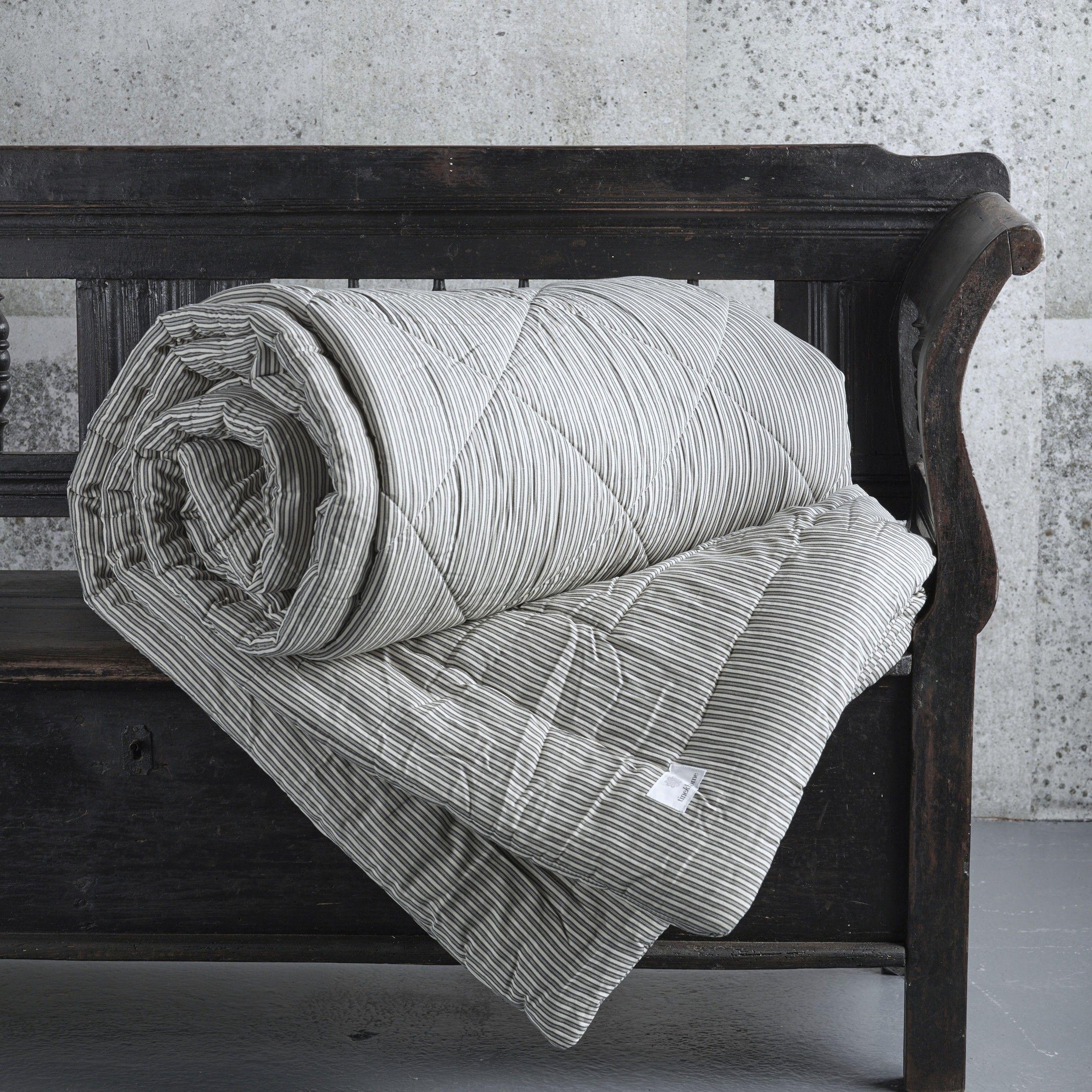 Design Vintage | Cotton Ticking Quilt | Tine K Home | Eiderdown ... : ticking quilt - Adamdwight.com
