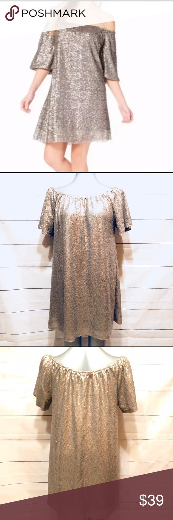 off the shoulder gold sequin dress nwt my posh closet