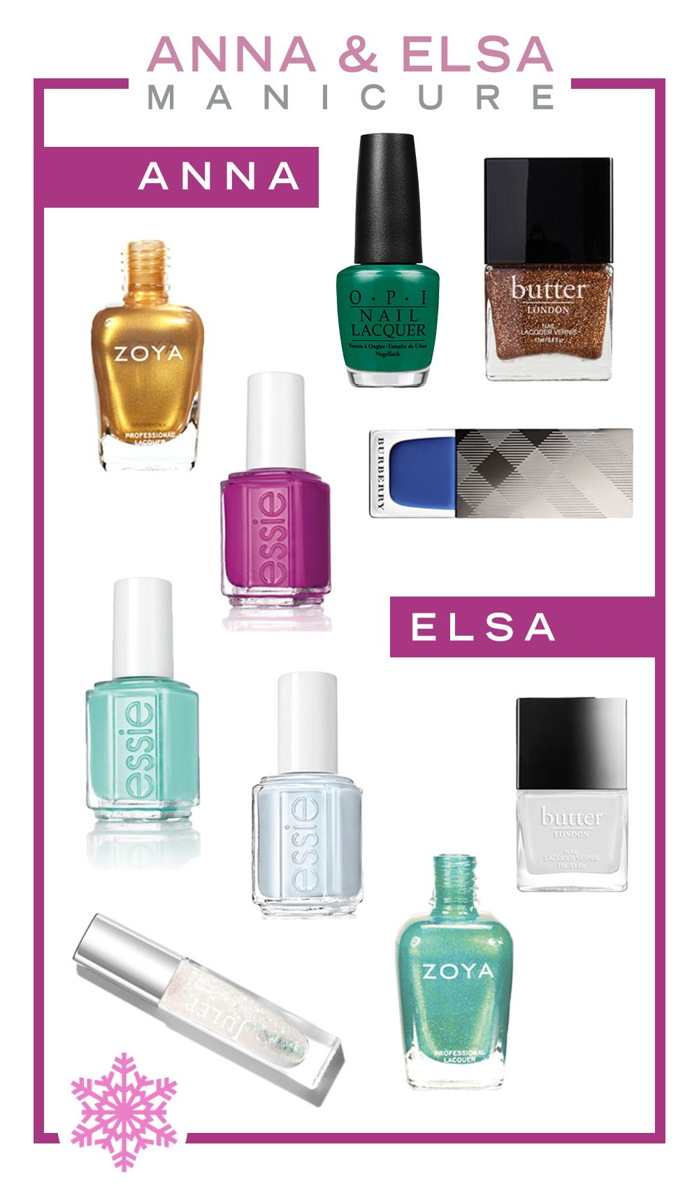 Our Favorite Nail Polishes for an Anna and Elsa Mani