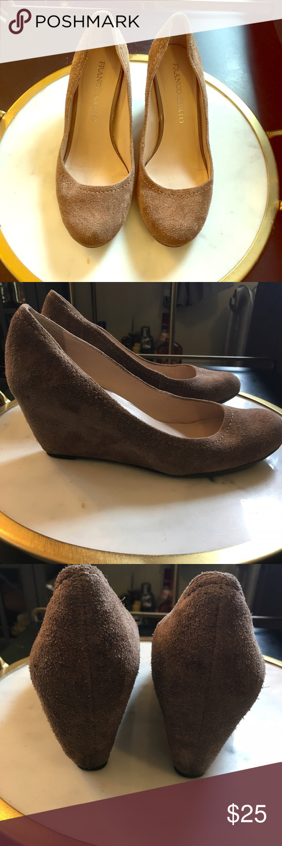 NWOT Franco Sarto Suede Wedge Heels Brand new without tags Franco Sarto suede wedge heels with closed round toe. Color is a dark tan with almost a grayish look to them. Beautiful pair of shoes. Approx 3.5 inch heel Franco Sarto Shoes Wedges