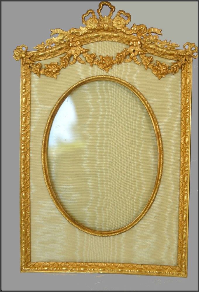 French Antique Bronze Frame With Ribbon Decoration And Garlands