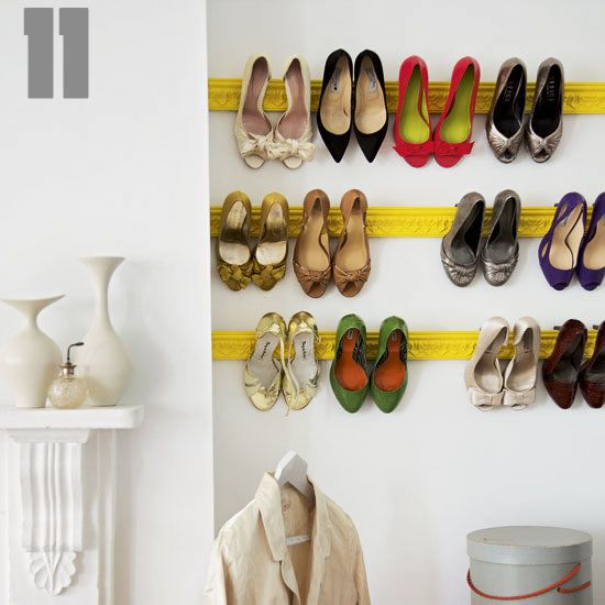 painted vintage molding for shoe storage