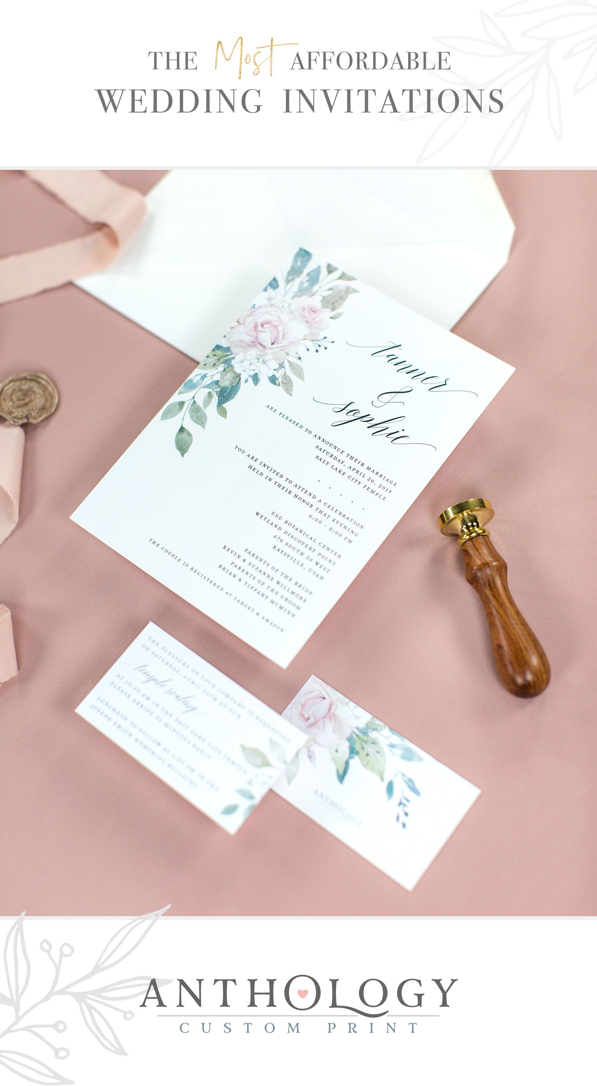 A Blush Floral Wedding Invitation Design Is Perfect For A Late Summer Or Affordable Wedding Invitations Floral Wedding Invitations Custom Wedding Invitations