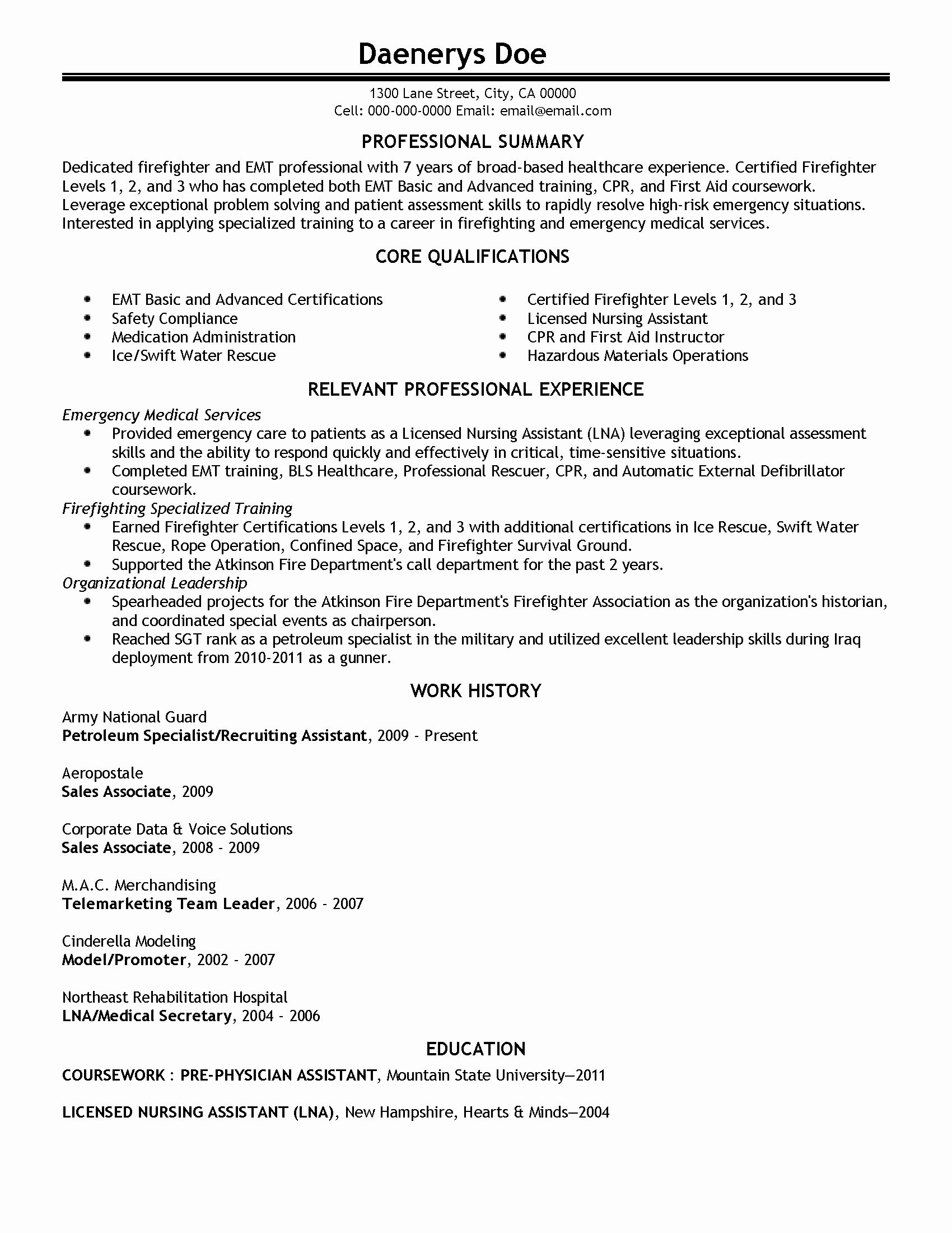 Lab Assistant Job Description Resume Inspirational Professional Emergency Medical Technician Template Medical Assistant Resume Resume Templates Resume Examples