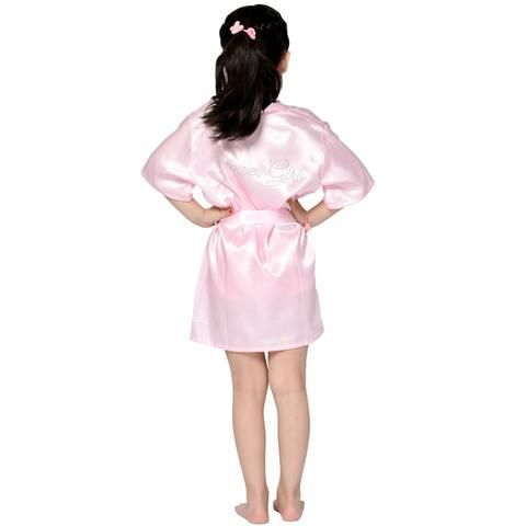 993bec3270 Fashion Kid Flower Girl Wedding Party Mini Bride Bridal Satin Solid Bath  Robe Yukata Rayon Silk Sexy Sleepwear Children Dressing