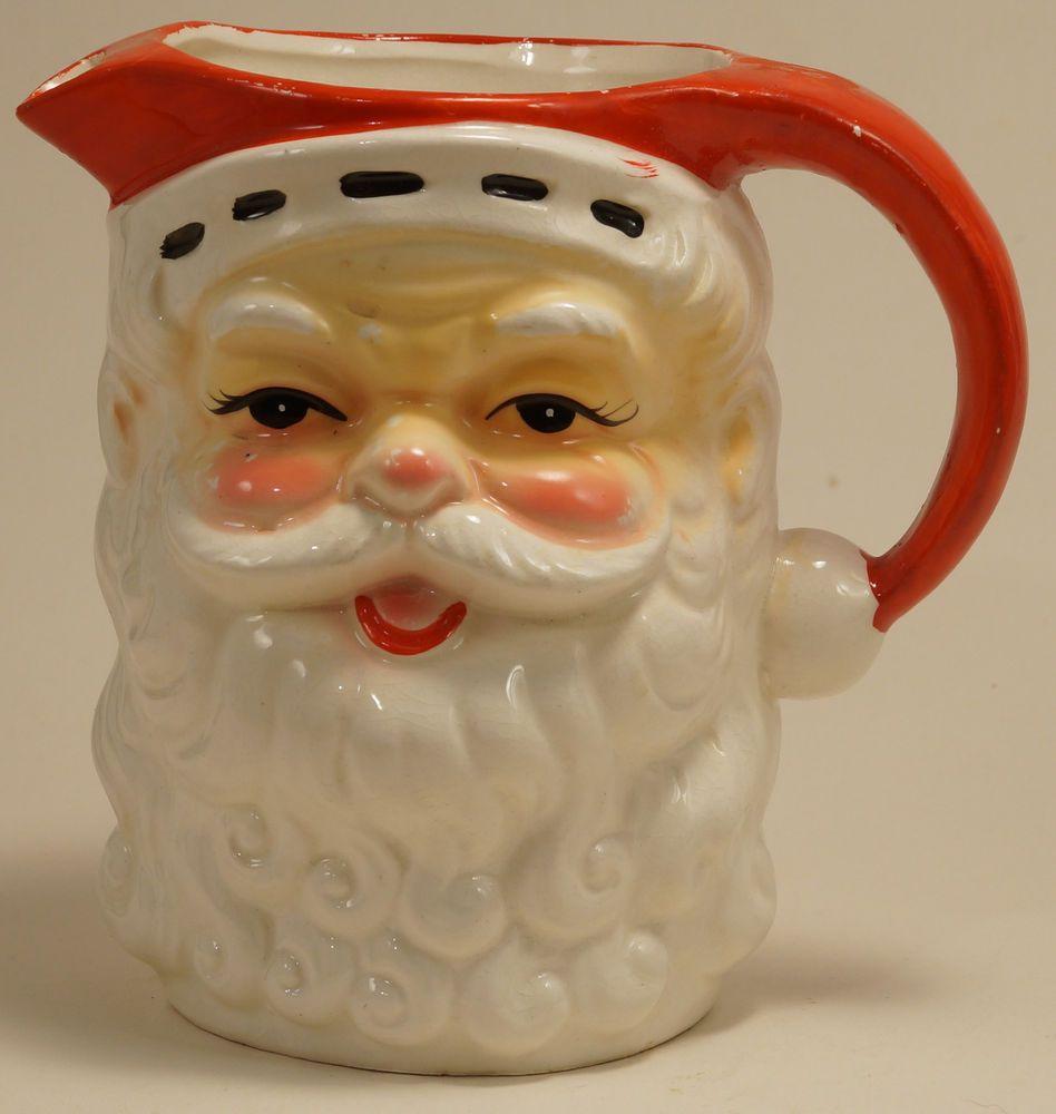 vintage 1950 u0027s santa claus pitcher curly beard japan christmas