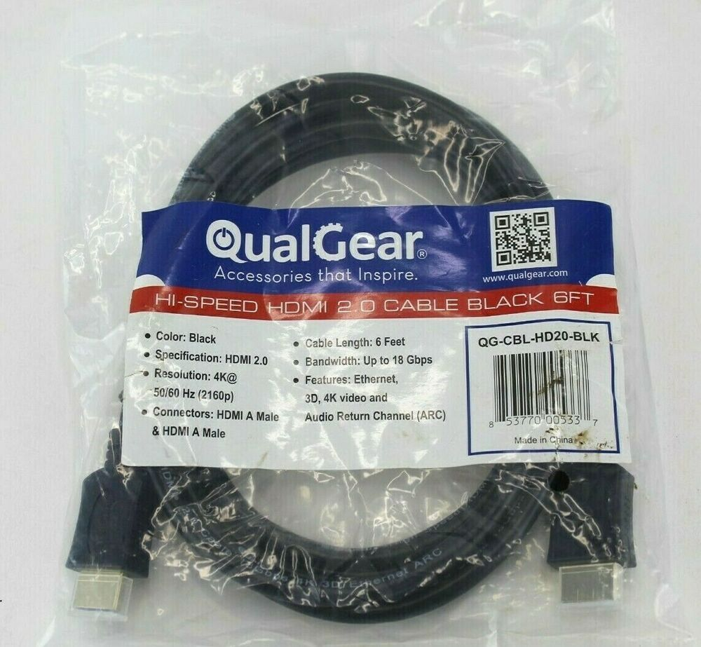 Qualgear Qg Cbl Hd20 Blk High Speed Hdmi 2 0 Cable With Ethernet 6 Feet Qualgear In 2021 Hdmi High Speed Speed