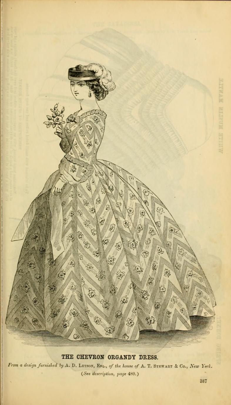 Silk Meeting In My Bedroom: 1861, Godey's. Chevron Dress Of Organdy Fabric Printed