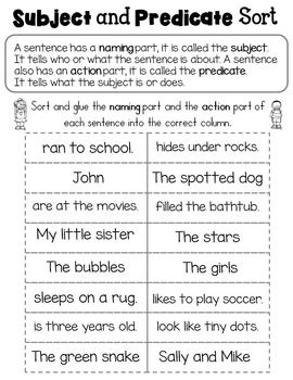 12+ 3rd grade subject and predicate worksheets Online