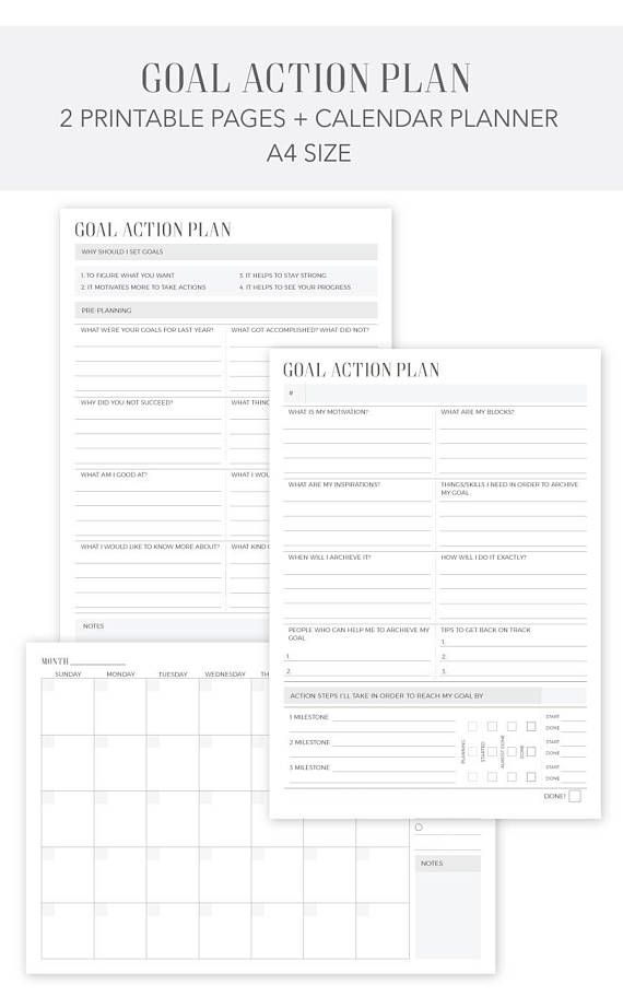 Goal Action Plan Printable Calendar Planner 2018-2019 A4 - action plan in pdf