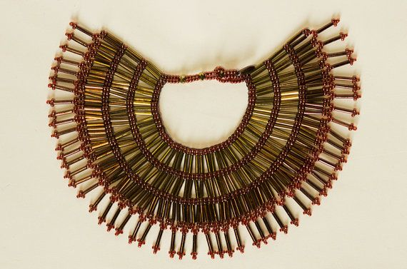 1/3 BJD Beaded Ombre Egyptian Collar Necklace by turnbacktheclock