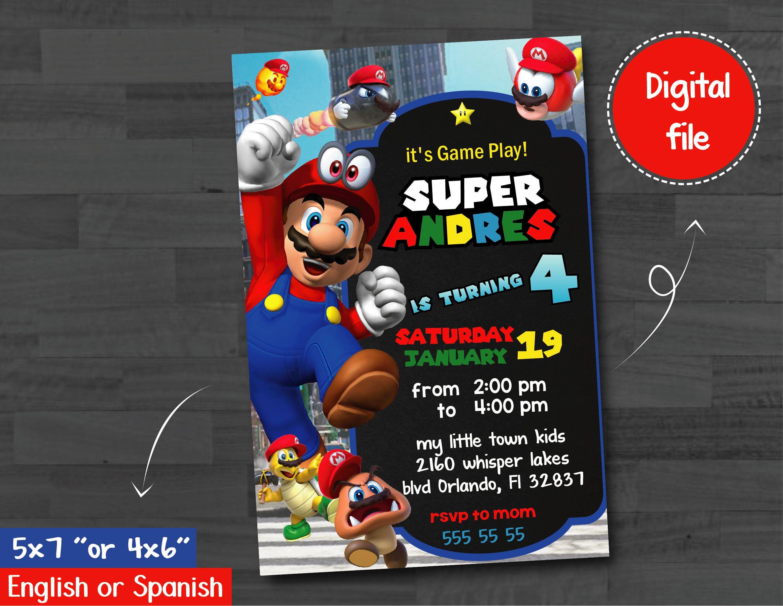 Super Mario Bross Invitation Super Mario Invitation Super Mario Birthday Party Invita Mario Birthday Party Super Mario Invitation Super Mario Birthday Party