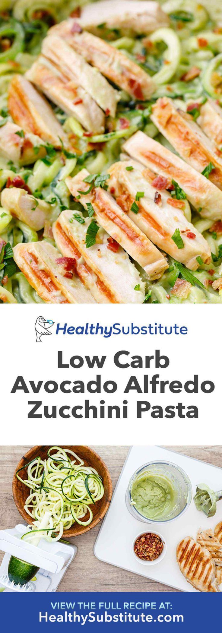 Avocado Alfredo Zucchini Pasta with Grilled Chicken and Bacon - Healthy Substitu... -