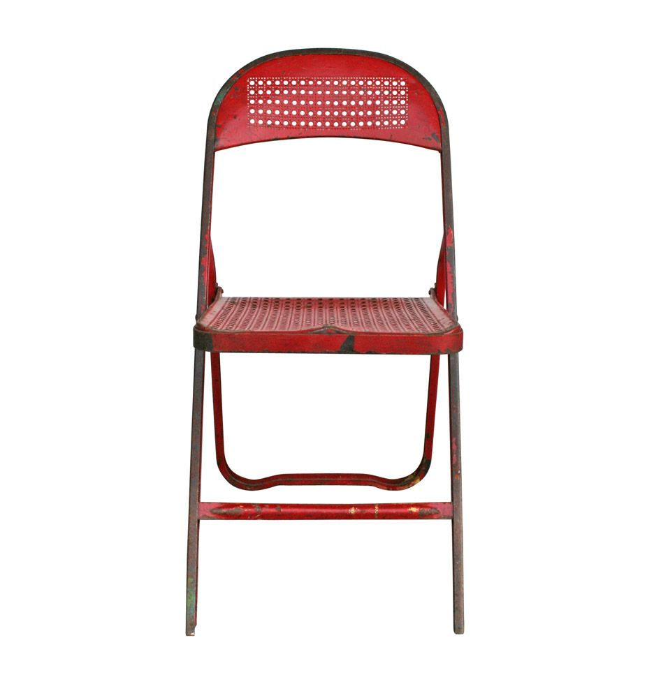 Charming Red Perforated Metal Folding Chair C1940s | Rejuvenation