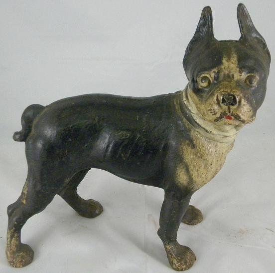 Antique Cast Iron Boston Terrier Dog Doorstop - Antique Cast Iron Boston Terrier Dog Doorstop Door Stops