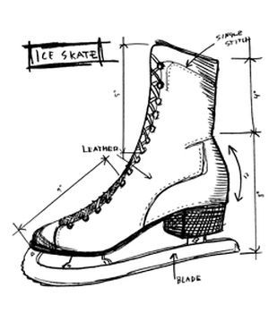 Stampers Anonymous Tim Holtz Red Rubber Stamp Ice Skate Sketch