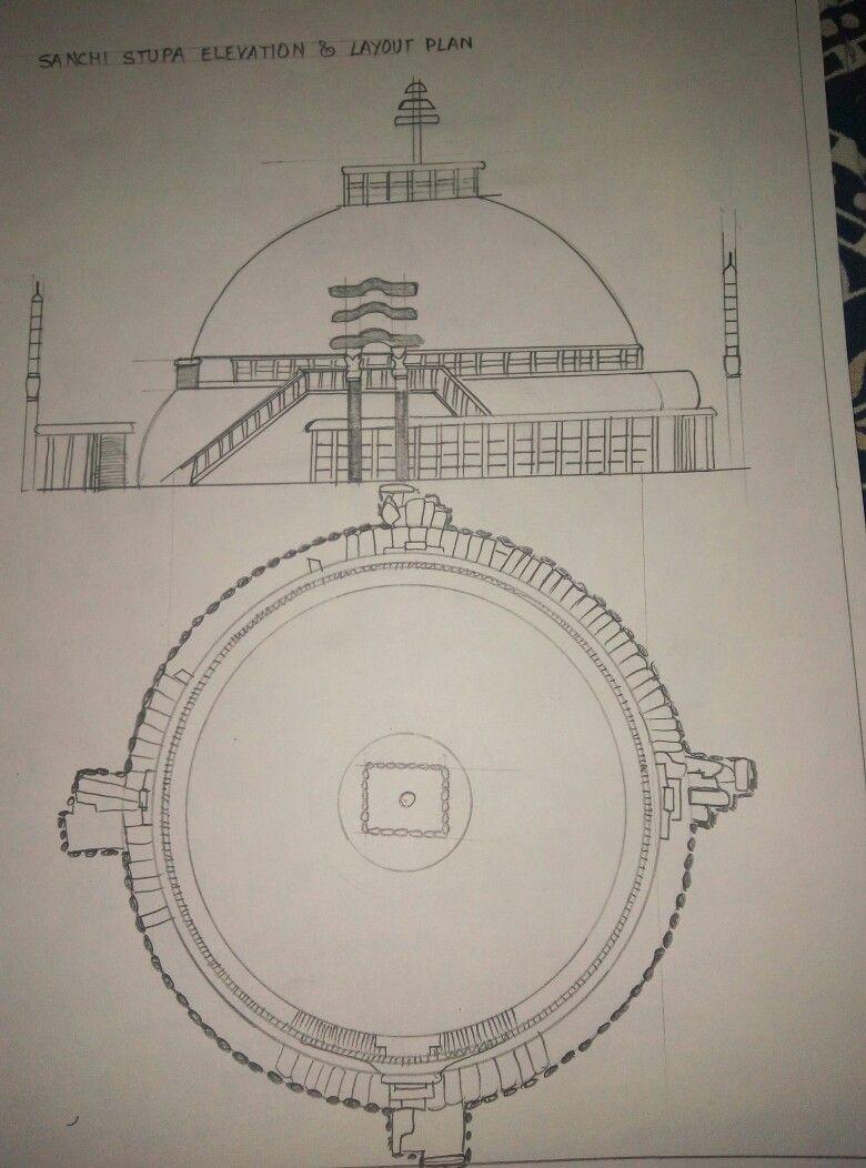 Sanchi Stupa Plan Elevation : Sanchi stupa plan and elevation history monuments