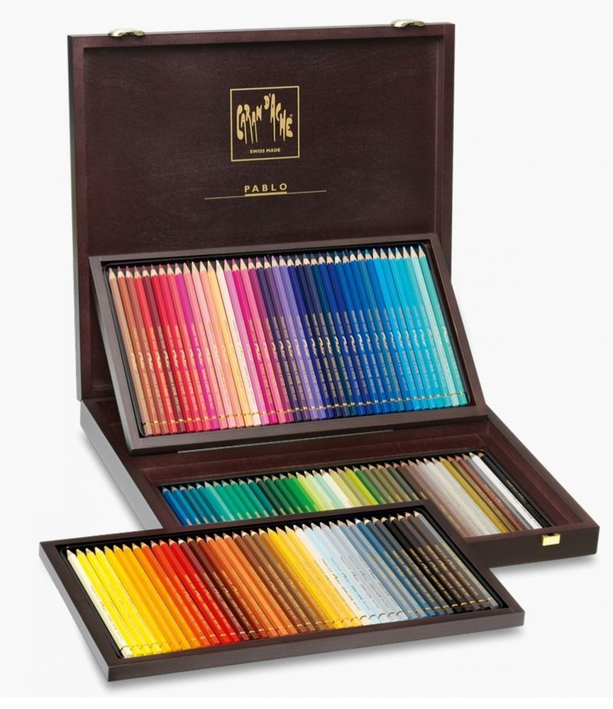 Caran Dache Pablo 120 Coloured Pencil Wooden Box Gift Set Artist