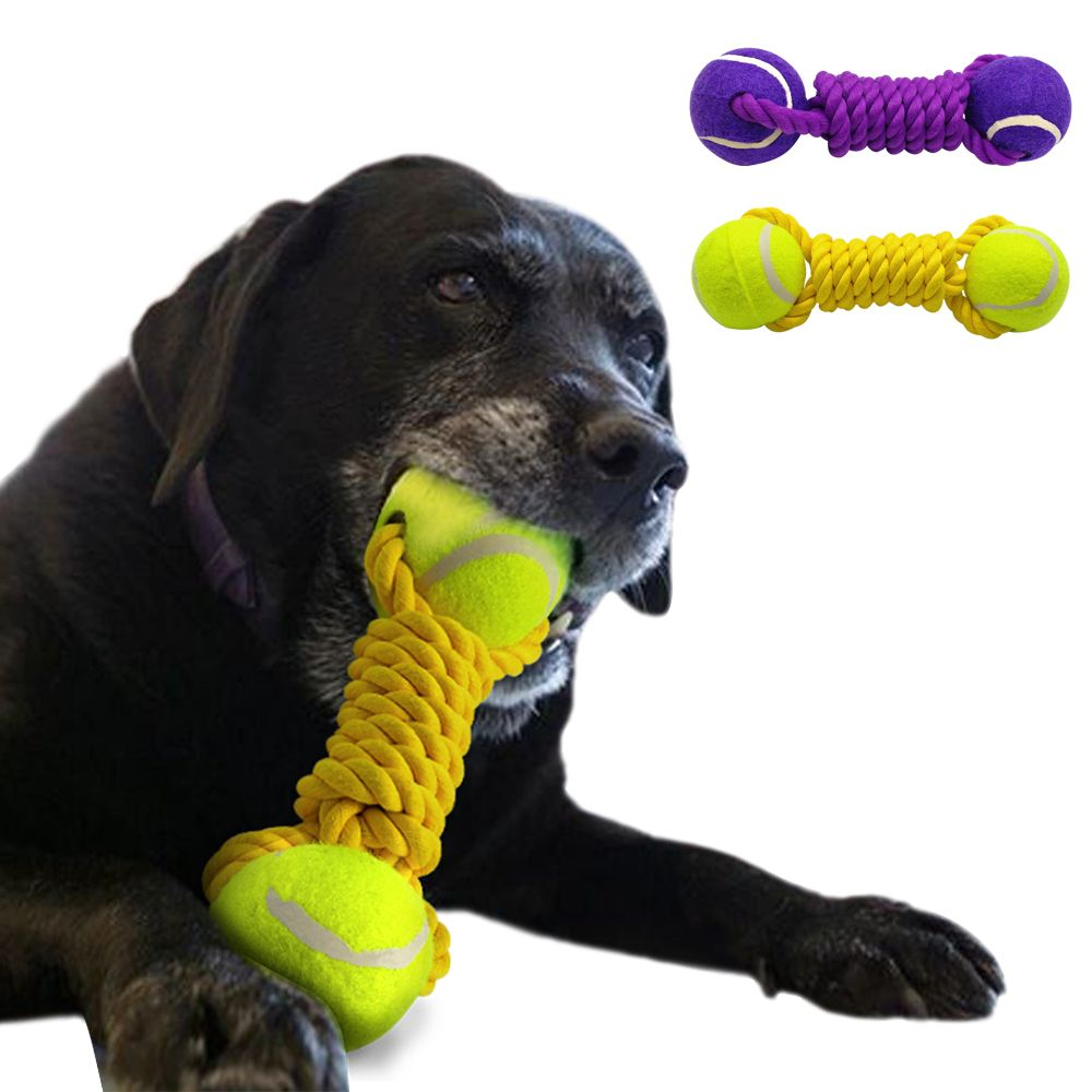 Dog Ball Rope Tug Toy Tennis Dogs Playing Training Toys For Pet