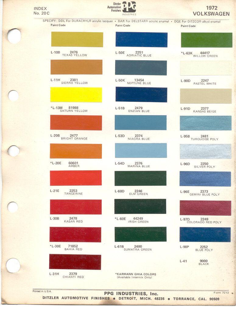 paint chips 1972 volkswagen beetle vw bus volkswagen. Black Bedroom Furniture Sets. Home Design Ideas