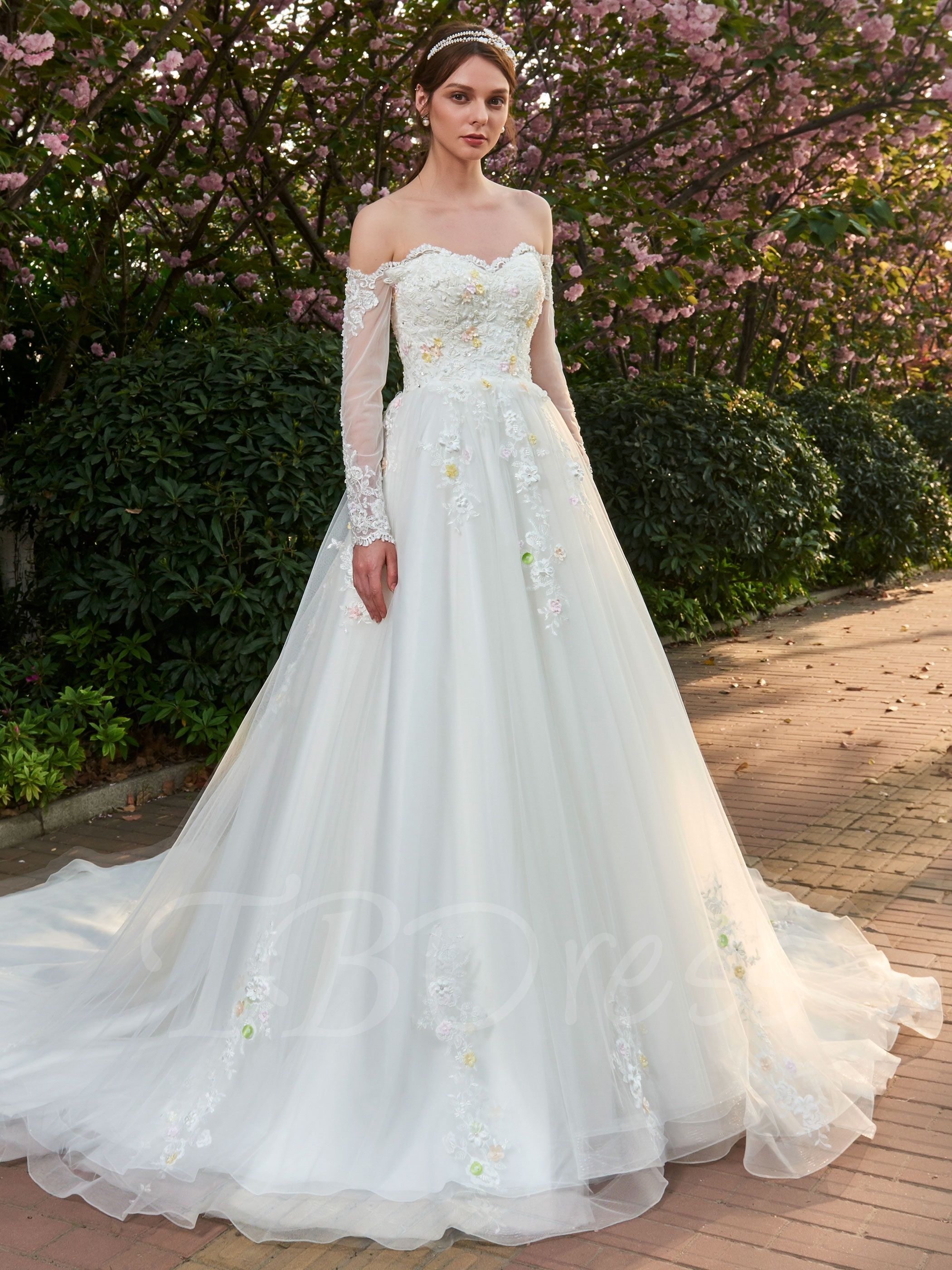 Beading 3d Floral Appliques Off Shoulder Wedding Dress With Long Sleeves Off Shoulder Wedding Dress Dresses Wedding Dresses [ 2800 x 2100 Pixel ]