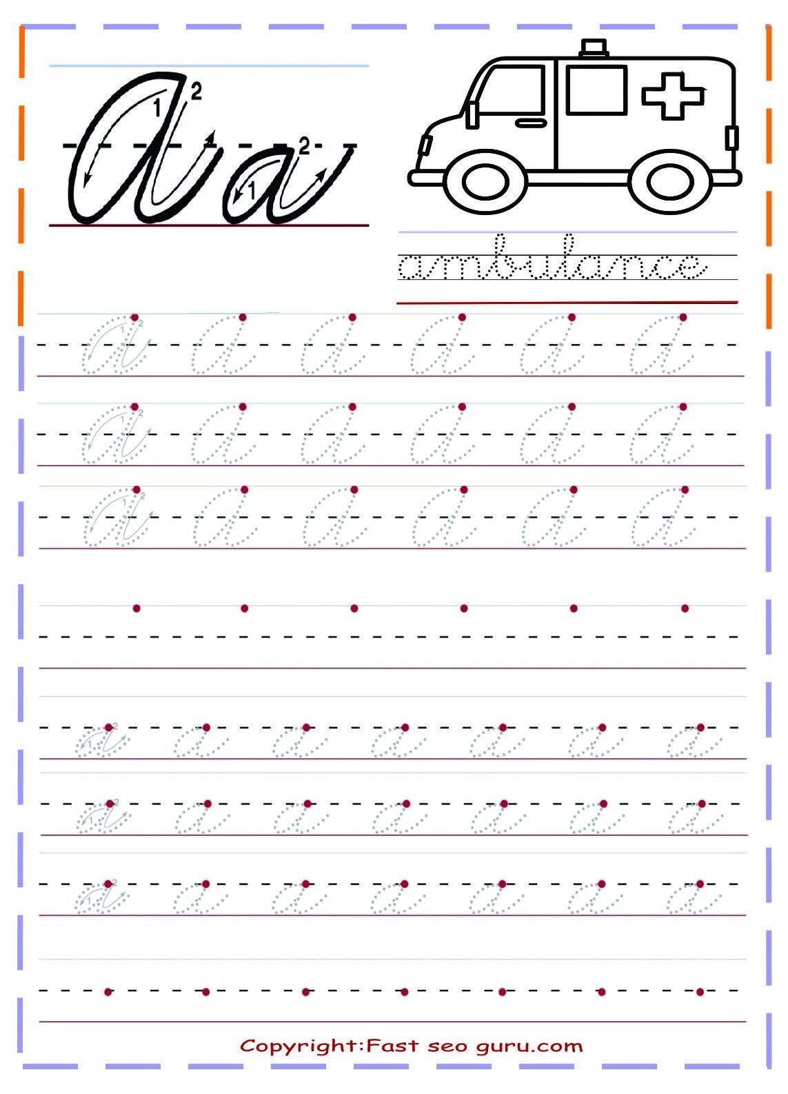 42 Letter Writing Practice Sheets in 2020 Cursive