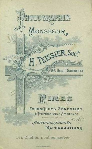 Photographie Monsegur H Teissier Successeur Nimes France Photo Cropped From Monaigle Delcampe