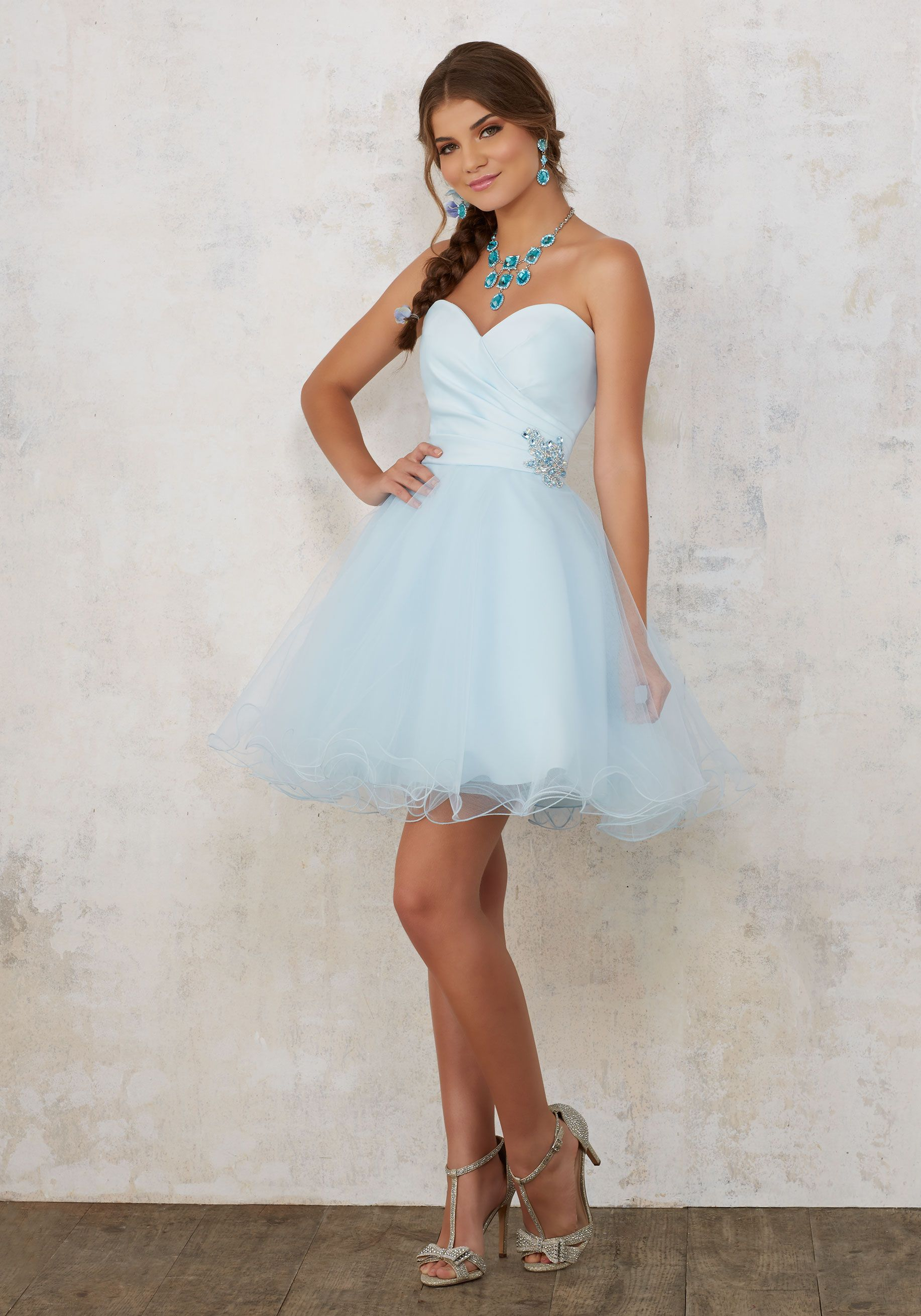 Satin And Tulle Damas Dress With Beading Morilee Dama Dresses Quinceanera Dama Dresses Cocktail Dress Prom [ 2620 x 1834 Pixel ]