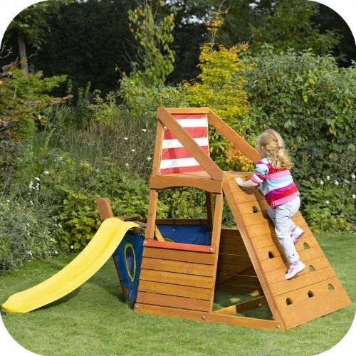 Details About Kids Wooden Pirate Ship Cubby House Play Gym Climbing