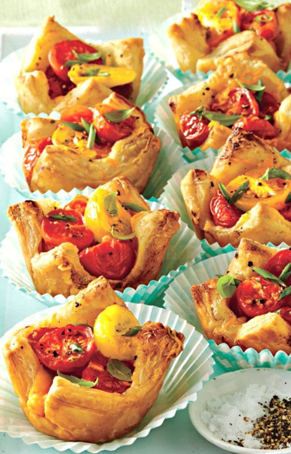 Now is the time to enjoy those last tomatoes of the season before fall brings the summer harvest to an end. Here's a yummy and elegant way to incorporate those little summer gems into a delicious treat. Serve them in decorative muffin papers to really wow your guests!