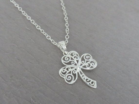 Shamrock necklace sterling silver filigree by MarciaHDesigns