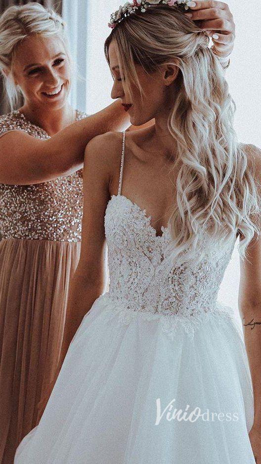 Beach wedding dresses, boho wedding dresses, beach wedding dresses Spaghetti strap beaded beach wedding dresses Viniodress