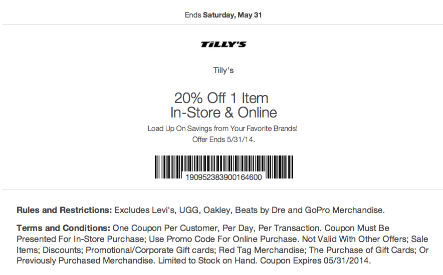 Tillys Coupon Printable That Are Unforgettable Dan S Blog