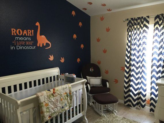 Wall Decal - Dinosaur Wall Art - Roar means I love you with footprints - Dinosaur Wall Decal - Roar means I love you - Wallapalooza #dinosaurnursery