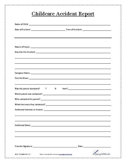 Child Accident Report Form  Child Daycare Forms And Daycare Ideas
