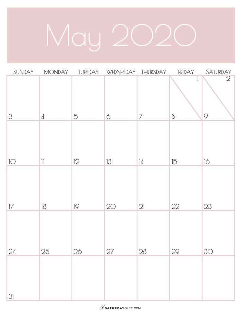 33 Gorgeous Printable Free May 2020 Calendars Onedesblog In 2020