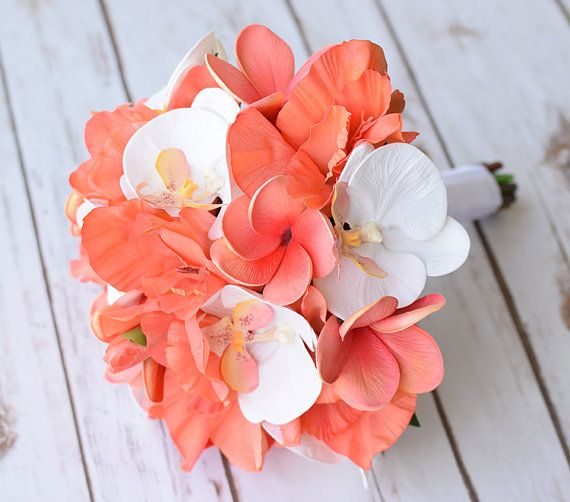 Coral peach orchids gladiolos and plumerias silk by