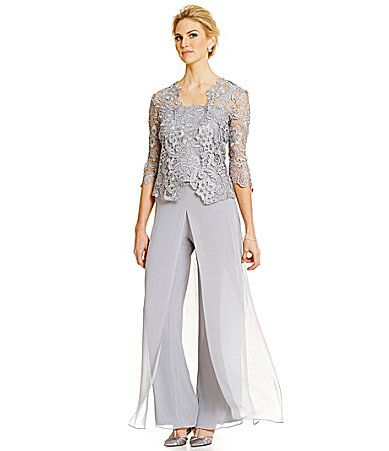 Emma Street Lace Chiffon Pant Suit Dillards Mother Of The Bride Suits Mother Of Groom Dresses Groom Dress