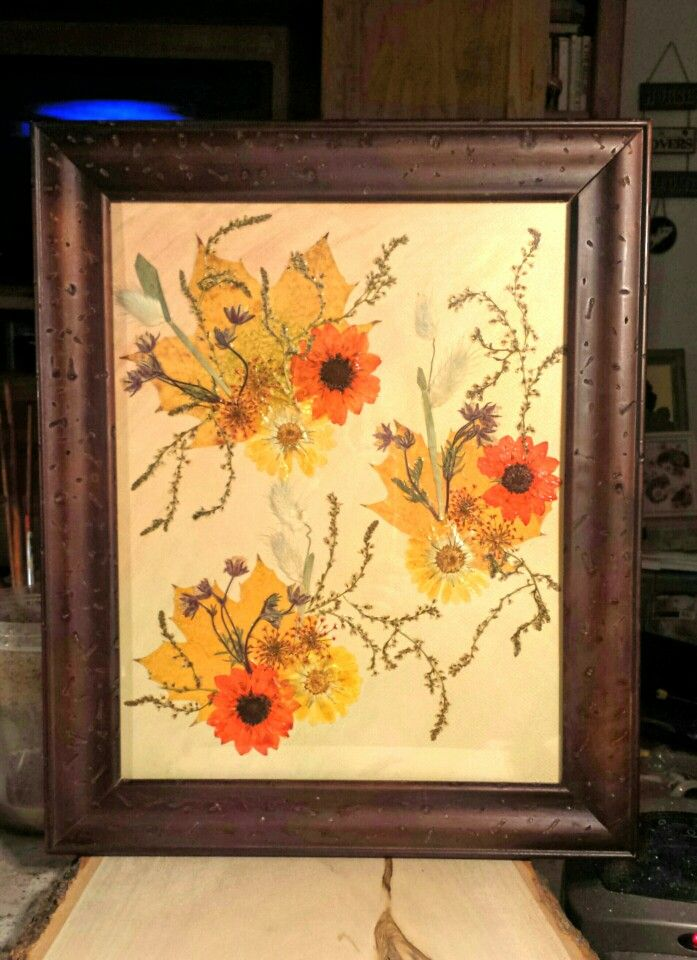"""Real Pressed Flowers and Fall Leaves on Framed Art Card 11 x 14, """"Prairie Fire. """" www.etsy.com/shop/flowerfelicity"""