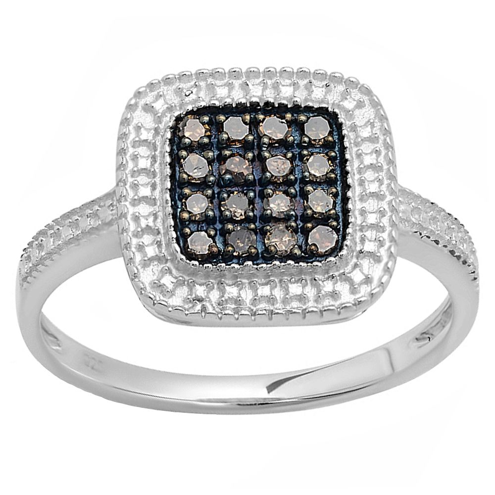 Sterling Round Champagne Diamond Women's Cocktail Ring