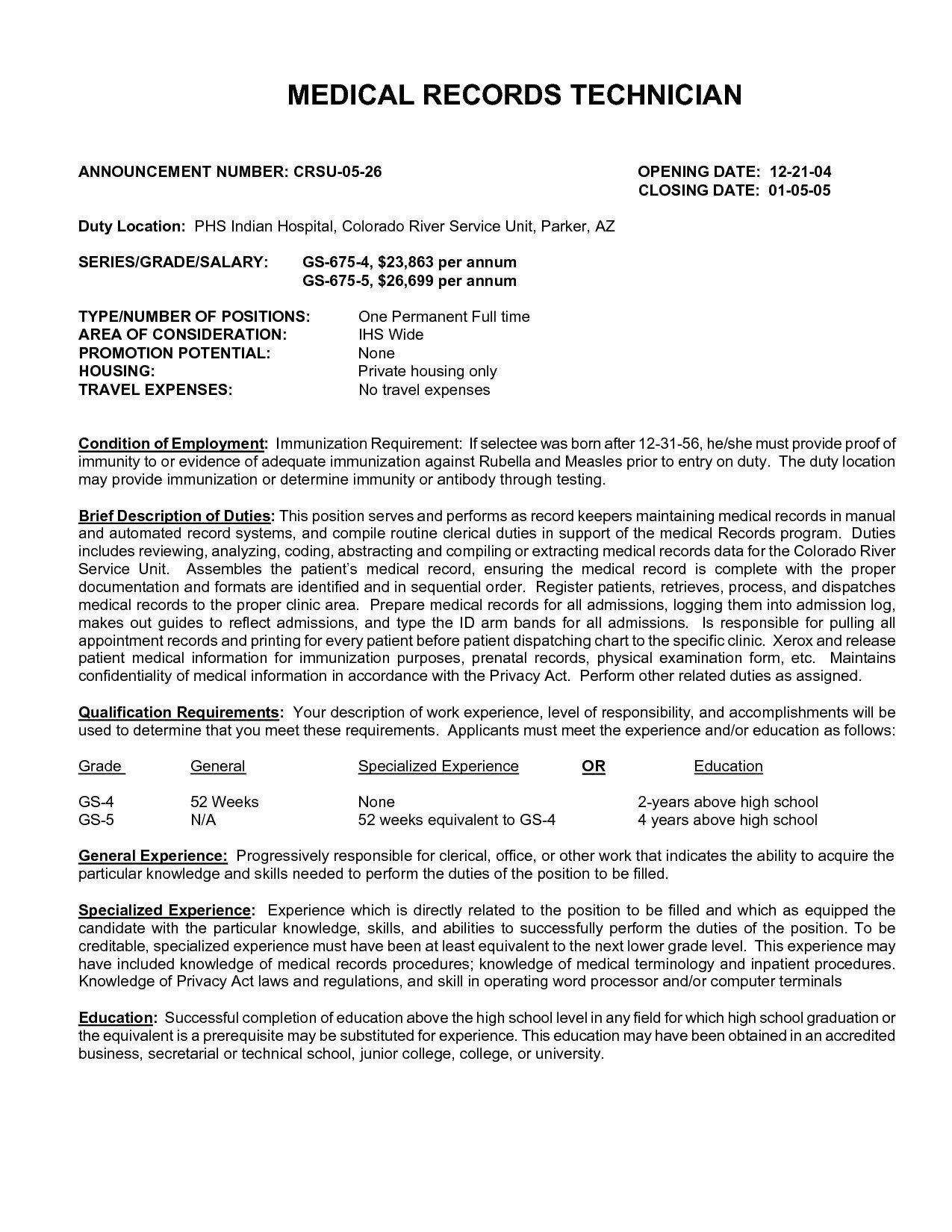 67 Elegant Photos Of Resume Examples For Medical Records Clerk