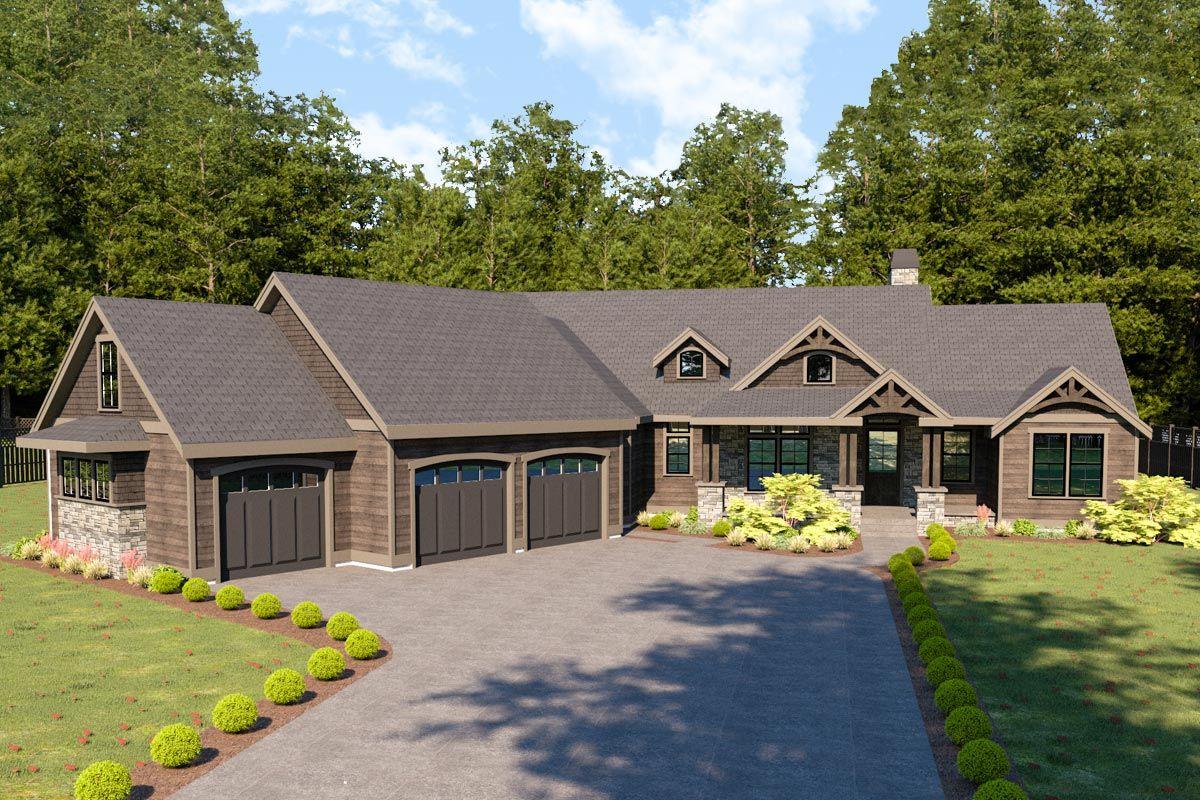 Plan 280032jwd Mountain Craftsman House Plan With Bonus Room Above Garage Craftsman House Plan Brick Exterior House Craftsman House Plans