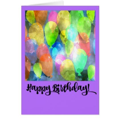 #party - #Birthday Card with Colourful Balloon Design