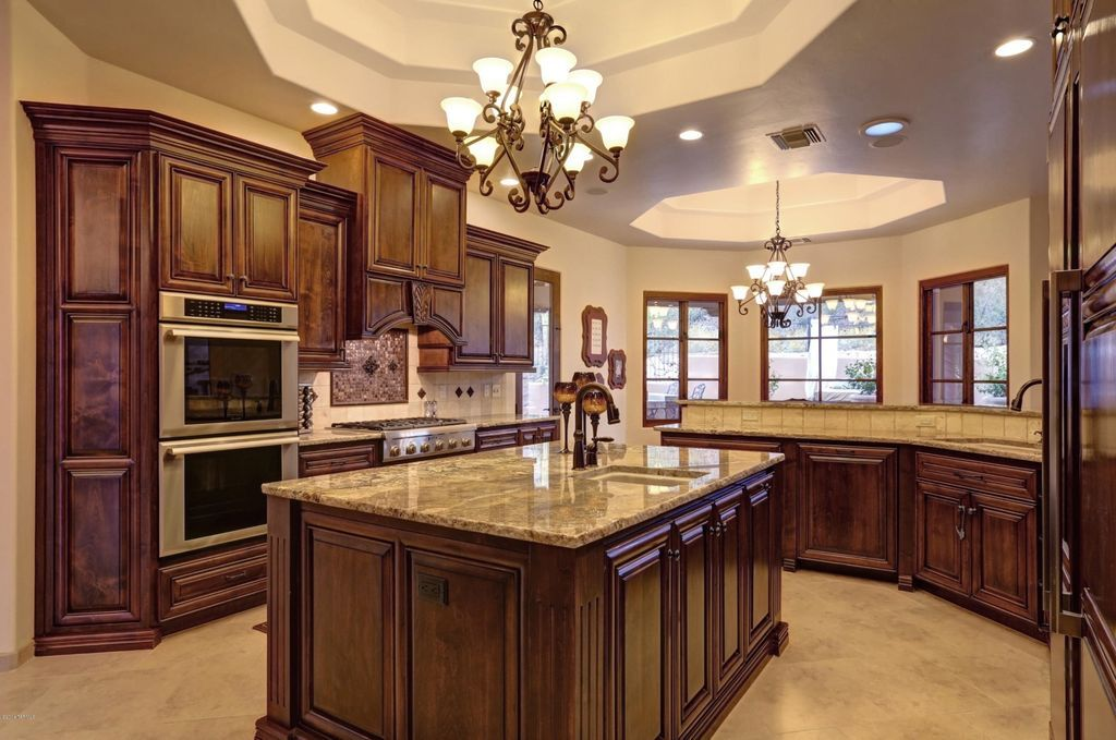 Traditional Kitchen with Stone Tile, Victorian Pull-Down ...