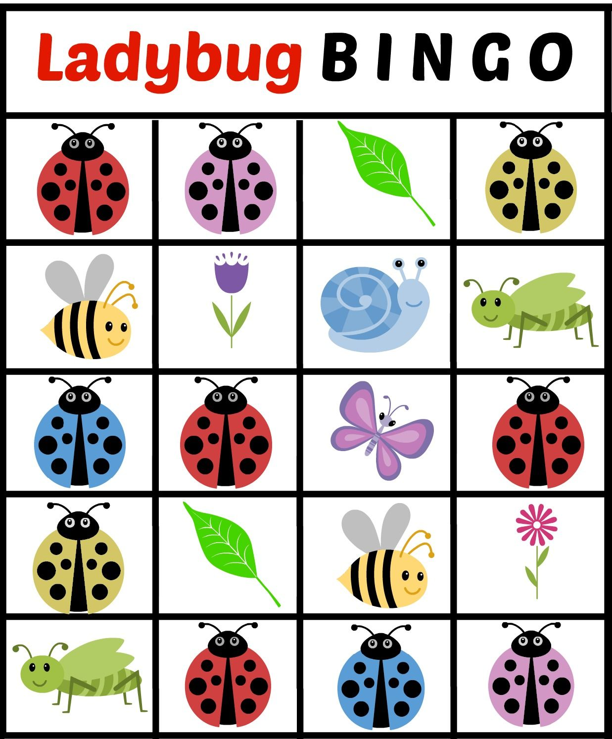 Free Printable Lady Bug Themed BINGO Game Cards