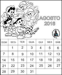 Calendário Agosto 2016 para Imprimir                                                                                                                                                      Mais